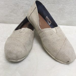 Toms sparkly Oatmeal Canvas slip on loafers flats